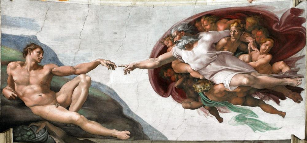 مشهورترین نقاشی های جهان 9 آفرینش آدم اثر میکل آنژ