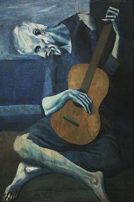مشهورترین نقاشی های جهان 19 گیتارنواز پیر اثر پابلو پیکاسو
